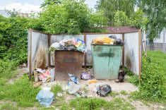 garbage-near-entrance-to-center-for-hygiene-and-epidemiology-picture-id540234134